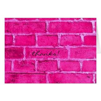 pink brick thank you card
