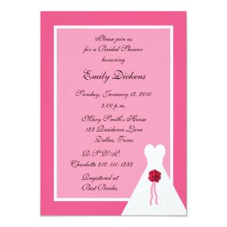 "Pink Bridal Shower Invitation, Bridal Gown on Pink 5"" X 7"" Invitation Card"