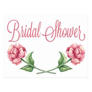 Pink Bridal Shower Invitation Watercolor Roses Postcard