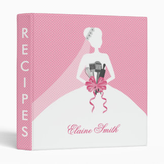 Pink Bridal shower Recipe Folder Vinyl Binder