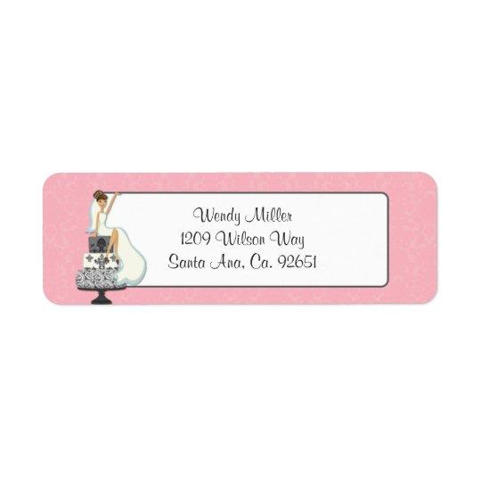 Pink Bridal Shower Return Address Labels