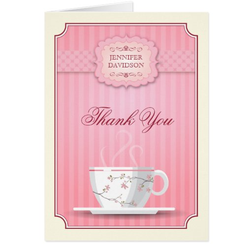 Pink Bridal Shower Tea Party Thank You Card