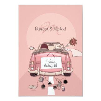 Pink Bride and Groom Getaway Car - RSVP Cards