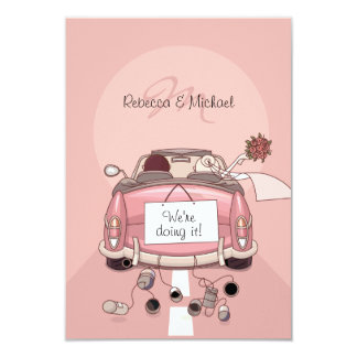 "Pink Bride and Groom Getaway Car - RSVP Cards 3.5"" X 5"" Invitation Card"