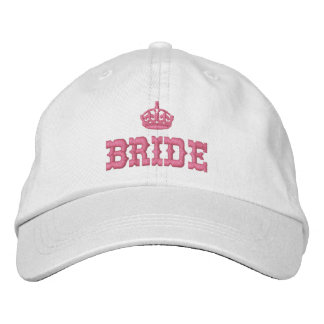 Pink bride with crown embroidered hat