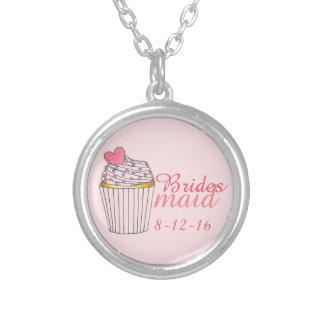 Pink Bridesmaid Cupcake Wedding Gift Necklace