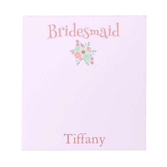 Pink Bridesmaid Pretty Notepad