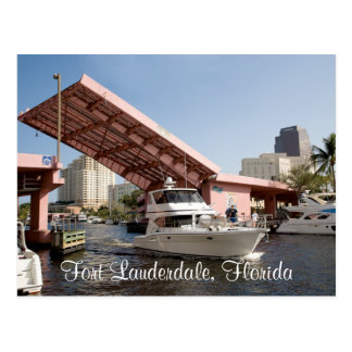 Pink Bridge in Fort Lauderdale Bay , Florida Postcard
