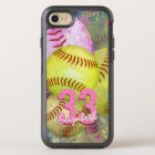 Pink Bright Yellow Women's Softball OtterBox Symmetry iPhone 8/7 Case