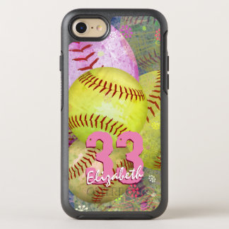 Pink Bright Yellow Women's Softball OtterBox Symmetry iPhone 8/7 Case