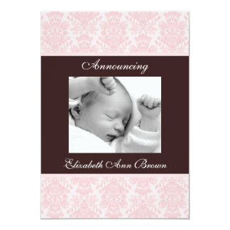 Pink Brocade on Brown Baby Girl Announcement