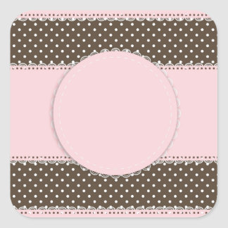 Pink Brow Polka Dots Delicate Bridal or Baby Showe Square Sticker