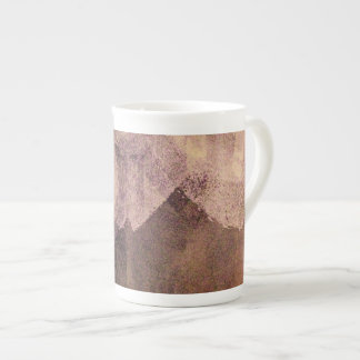 Pink brown abstract painting brush stroke art tea cup