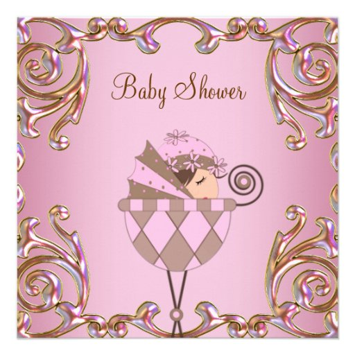 Pink Brown and Gold Girl Baby Shower Custom Invites