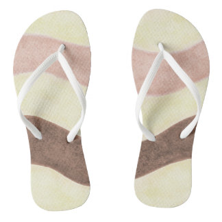 Pink Brown and White Flip Flops