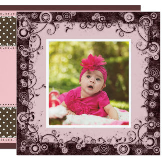 Pink & Brown Baby First Birthday Invitation