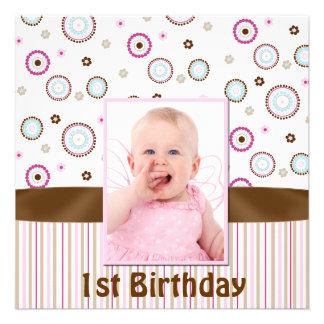 Pink Brown Babys Photo First Birthday Invitation