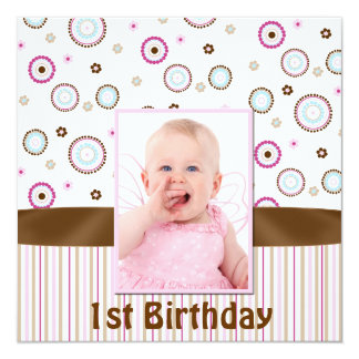 Pink & Brown Babys Photo First Birthday Invitation