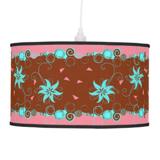Pink Brown Blue Abstract Floral Pattern Ceiling Lamps
