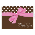 Pink Brown Bow Polka Dot Thank You