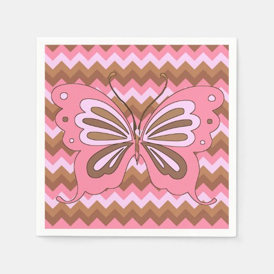 Pink Brown Butterfly Girls Party Napkins Paper Napkins