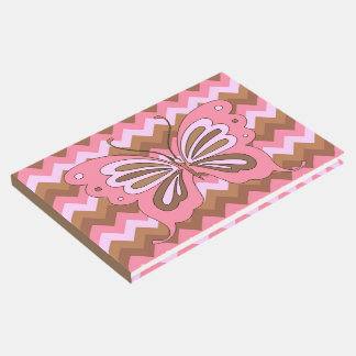 Pink Brown Butterfly Zig Zag Guest Book