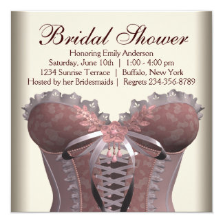 Pink Brown Corset Bridal Shower Card