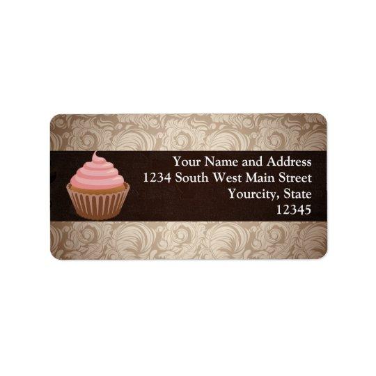Pink/Brown Cupcake Label