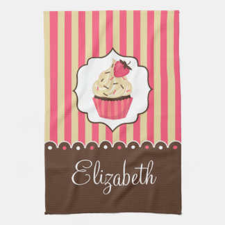 Pink & Brown Cute Cupcake With Custom Name Kitchen Towel