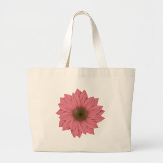 Pink & Brown Daisy Large Tote Bag