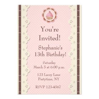 Pink Brown Eyelet Lace Birthday Invitation
