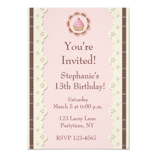 Pink Brown Eyelet Lace Birthday Invitation