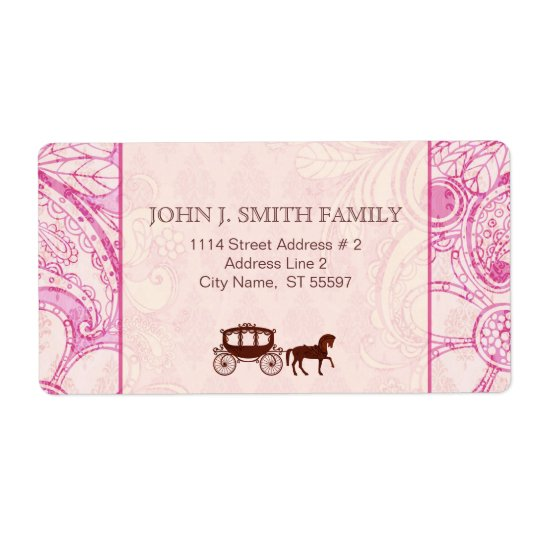 Pink & Brown Floral Swirls - Custom Text Shipping Label