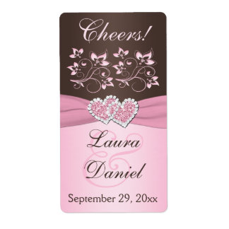 Pink, Brown Floral Wine Bottle Label