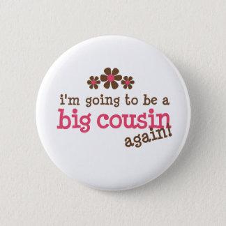 Pink/Brown Flower Big Cousin T-shirt 2 Inch Round Button