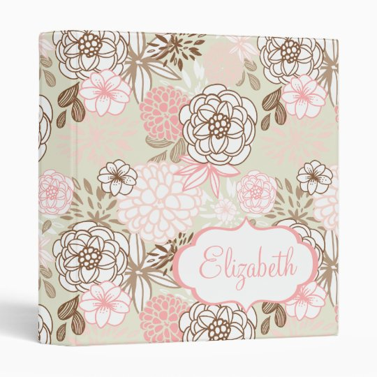 Pink & Brown Flowers Custom Name Binder
