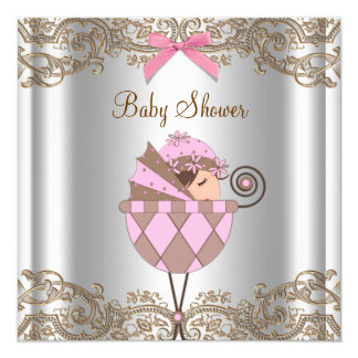 Pink Brown Lace Girl Baby Shower 5.25x5.25 Square Paper Invitation Card