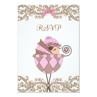 Pink Brown Lace Girl Baby Shower RSVP Card
