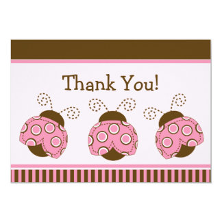 Pink & Brown Mod Ladybug Baby Shower Thank You Card