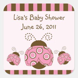 Pink & Brown Mod Ladybug Stickers/Envelope Seals