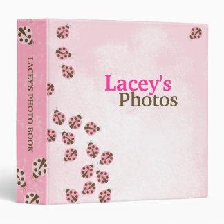 Pink Brown Modern Ladybug Girl's Photo Album Vinyl Binders