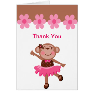 Pink & Brown Monkey Dancing in Tutu Girl Thank You Note Card