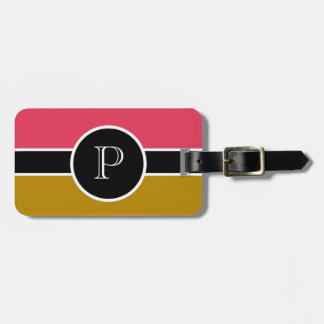 Pink Brown  Monogram Initial Modern Chic Travel Luggage Tag