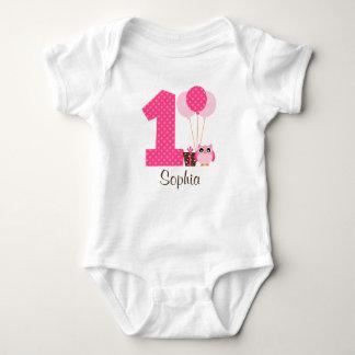 Pink Brown Owl Polka Dot 1st Birthday Girl Baby Bodysuit