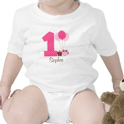 Pink Brown Owl Polka Dot 1st Birthday Girl Tee Shirt