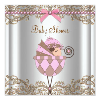 Pink Brown Pearls Lace Girl Baby Shower Card