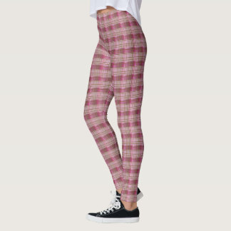 Pink & Brown Plaid Leggings