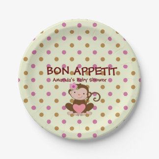 Pink & Brown Polka Dot Monkey Custom Paper Plates 7 Inch Paper Plate