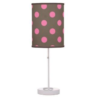 Pink Brown Polka dot table lamp