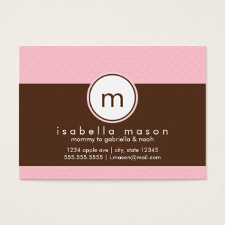 Pink & Brown Polkadots Mommy Card